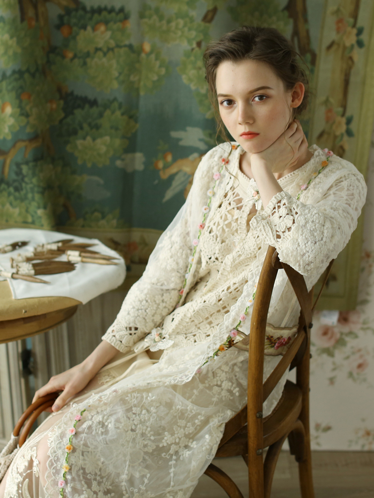 Filles Femmes Broderie Vintage Printemps Cardigan Automne Beige White Mori Chinoiserie Lynette's H0w4qaw