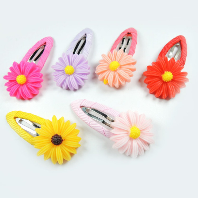 411f59438f120 1 Pcs Hair Accessories Kids Flower Shaped Hairpins Girls Hair Clip 6 Colors  2018 NEW Arrival