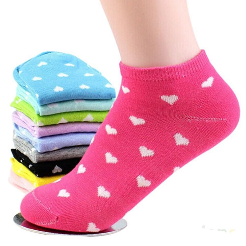 5Pair/pack  Women Girls Casual Cotton Sports Socks Heart Ankle Low Cut Soft Socks Calcetines Mujer