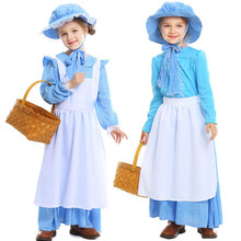 Umorden Blue Floral Colonial Pioneer Costume Prairie Dress for Girls Teen Girl Halloween Party Carnival Costumes Cosplay