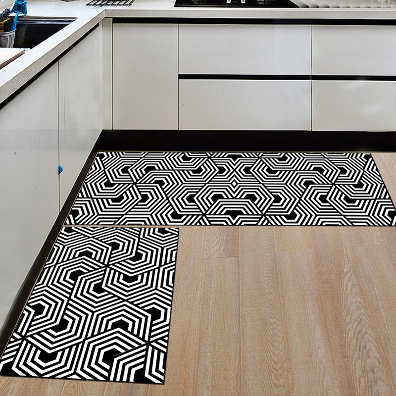 Nordic Slip Resistant and washable Kitchen Mats with Creative Geometric Print for Kitchen Floor
