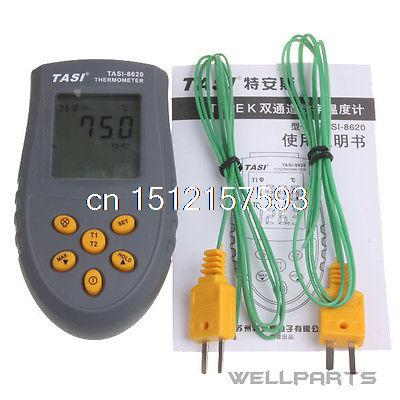 Digital Dual Two Channel K-Type Thermocouple Thermometer Pyrometer TASI-8620 mastech ms6514 dual channel digital thermometer temperature logger tester usb interface 1000 set data k j t e r s n thermocouple