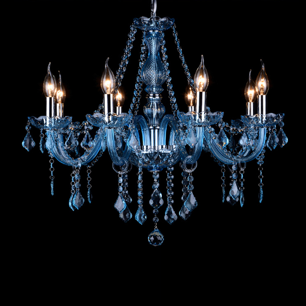 led e14 European Alloy Blue Crystal Chandelier Lighting LED Lamp LED Ligh For Foyer Bedroom Dinning Room Lounge Area Hotel Villa 4555 fashionable aluminum alloy smoking area ashtray deep blue