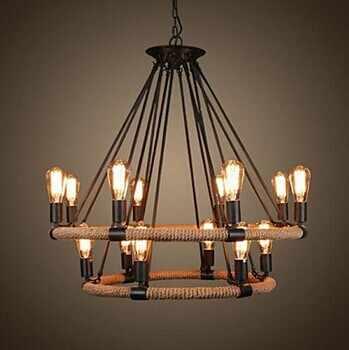 2 яруса, ретро кантри Лофт стиль пеньковая веревка лампа Эдисона в винтажном стиле подвесной светильник с 14 огнями для столовая фойе