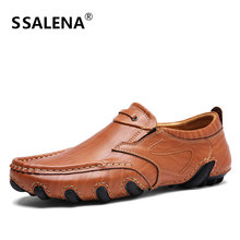 Men Fashion Handmade Flats Shoes Spring Autumn Breathable Leather Casual Shoes Soft Slip On Moccasins Driving Shoes AA11639