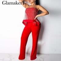 Glamaker Pearl mesh striped sexy jumpsuit Women strapless black jumpsuit & romper Summer bodycon female jumpsuit party overalls