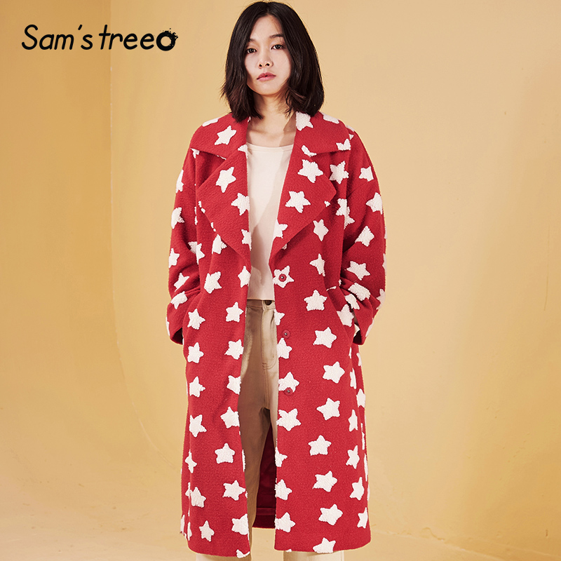 Samstree Winter Women Blends Coat Drop shoulder Star Print Wide waisted Female Harajuku Long Coat Outwear