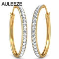 Genuine Solid 14K 585 Yellow Gold Hoop Earrings For Women Round Cut 0.6CTTW Natural Diamond Party Earrings Fine Jewelry