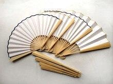 10pcs/lot Free shipping Big  Black Hand Fan DIY Program Fans Silk Cloth Folding Chinese Decorative