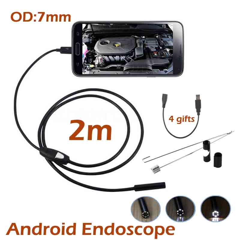 10pcs/lot Android USB Endoscope Camera 7MM OD Lens OTG USB Camera Waterproof Snake Tube Inspection Borescope HD720P Camera gakaki 7mm lens usb endoscope borescope android camera 2m waterproof inspection snake tube for android phone borescope camera