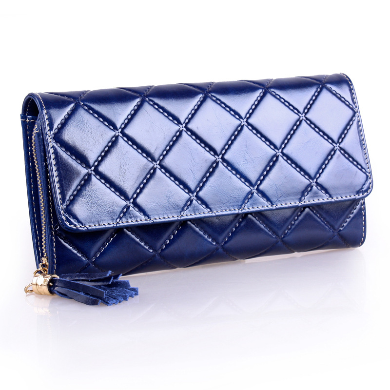 ФОТО New Fashion First Layer of Leather Two Fold Wallet Zipper Quilted Ms.oil Wax Leather Wallet Long Section Monederos Para Monedas