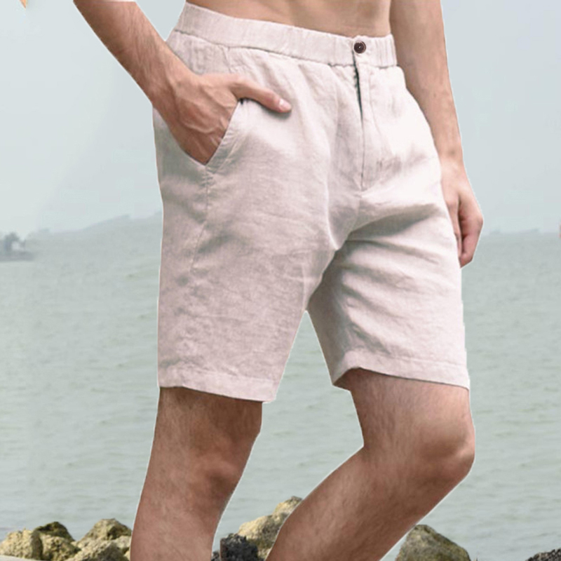 4XL Casual Shorts Joggers Cotton Linen Knee Length Elastic Waist Slim Fitness Straight Basic Solid White Male Classic Clothes