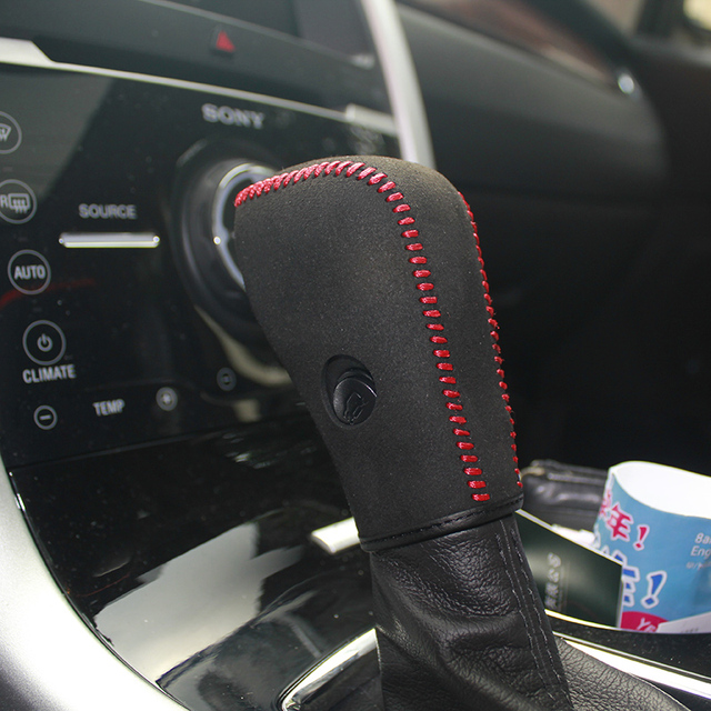 Heated Nappa Leather Shift Knob Cover For Ford Edge At Car Cover On The Gear Shift