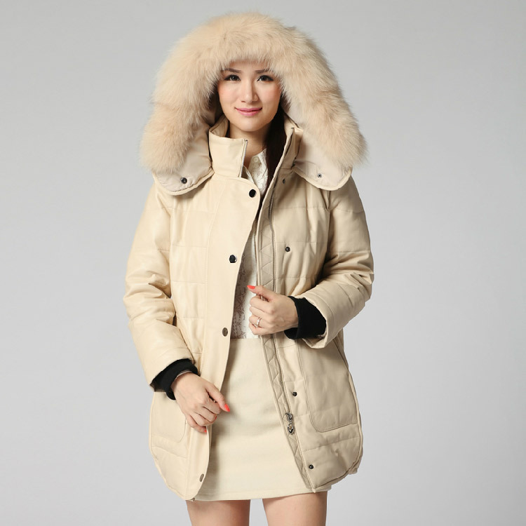 new winter women real natural fox fur trim hood fur coat with down