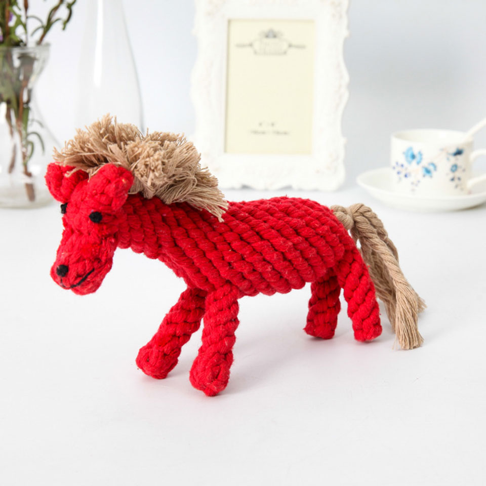 Petcircle Pet Dog Toys for Small Dog Knot Linen Rope Braided Horse Animal Shape Puppy Ch ...
