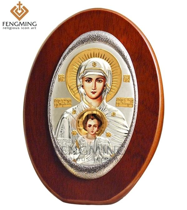 Icône orientale russe orthodoxe ovale fait à la main   Rare vierge, marie et jésus bébé, cadre en bois, icône grecque, baptême byzantin, offre spéciale