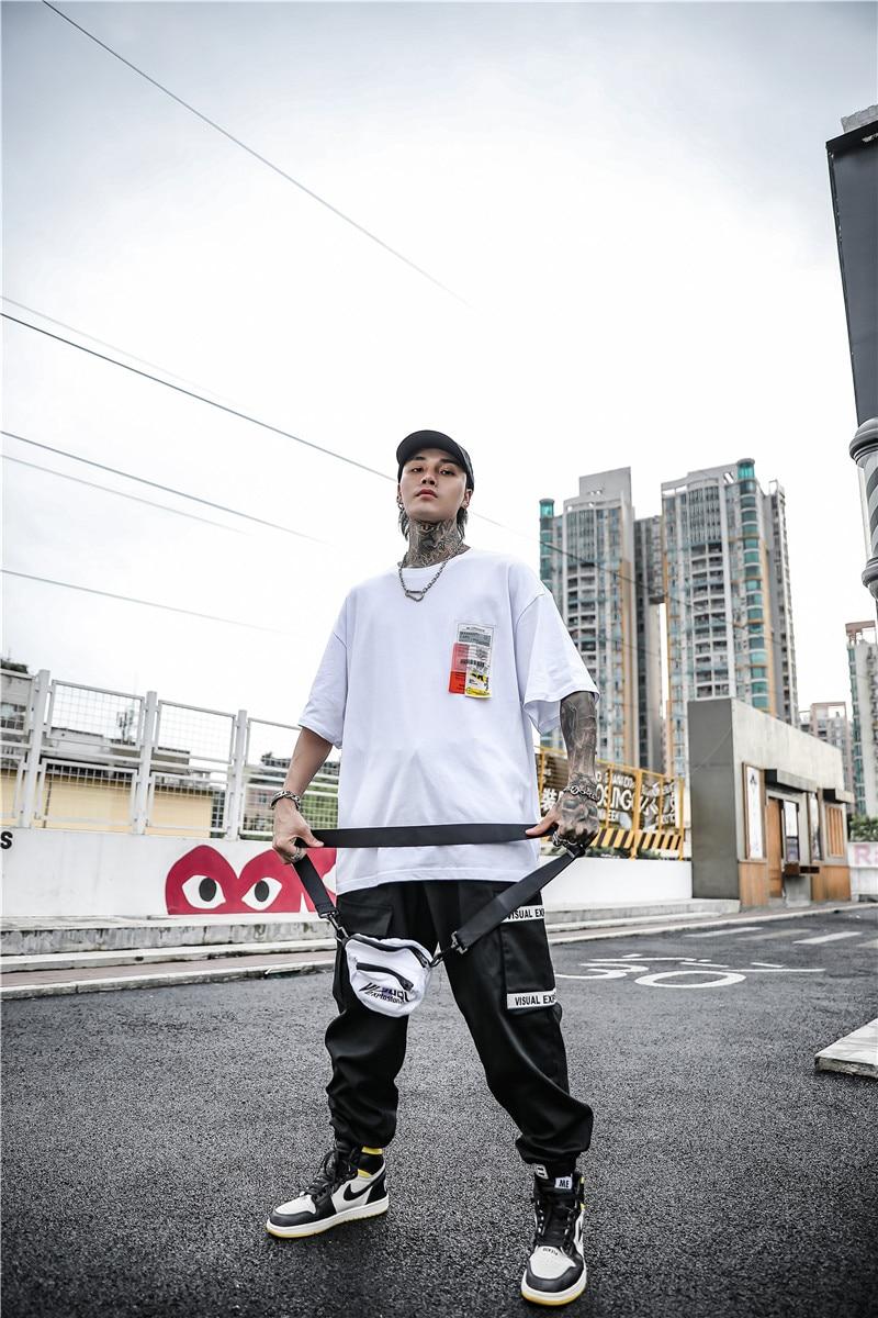 Dark Icon Side Split Fluorescent Green T-shirt with Messenger Bag Hiphop Tshirt Men Cotton Tee Shirts Streetwear Clothing 20