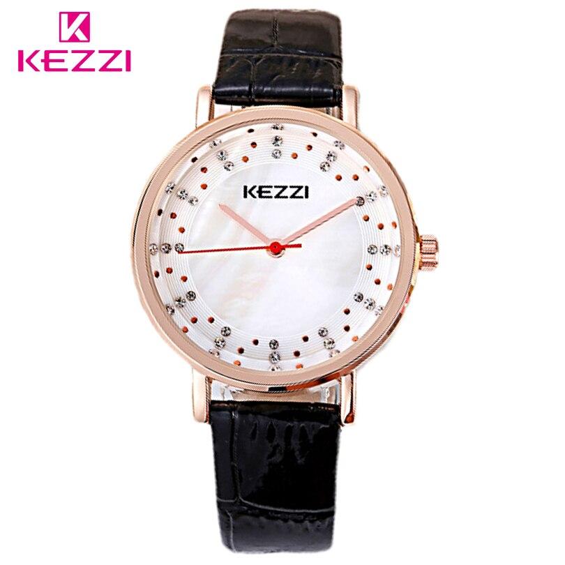 9066632d8fa Kezzi marca relógio feminino relógio de quartzo de couro rose gold   silver  caso filha alta qualidade de marcação de strass mulheres relógios de pulso