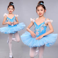 New Girls Classical Ballet Tutu Dress Children Swan Lake Ballet Costume Kids Performance Blue Ballet Dance