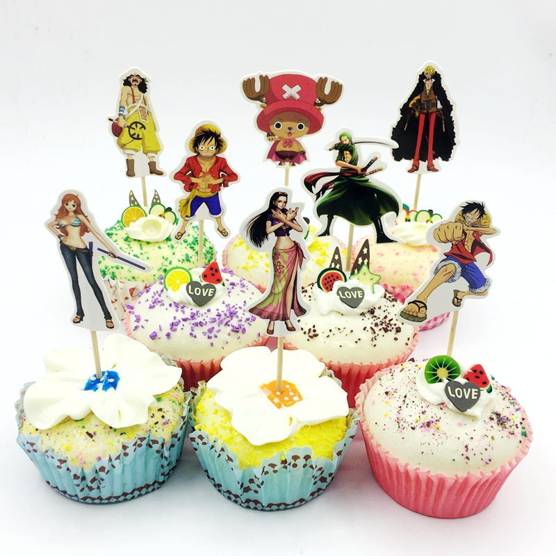 24pcs//Set Anime One Piece Pattern Cake Toppers Birthday Party Cupcake Decor