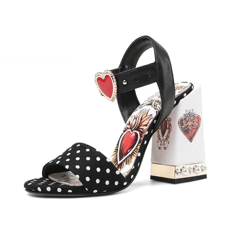 Sandalias Polka De Abierta Punta 2019 Isnom Mujeres Dot Alto Corazón Zapatos Nueva Perla Tacón Negro Moda Verano Dulce E1qxIxwp5