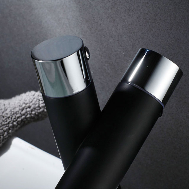 Hownifety Chrome with black Polished Deck Mount Bathroom Sink Faucet Set Basin Mixer Tap Single Hole Single Handle Modern