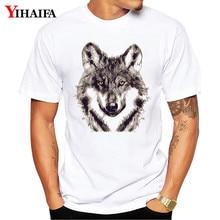 T Shirt Mens Fashion Wolf 3D Print Tees White Tops Men Unisex Summer Tee Shirts hip hop