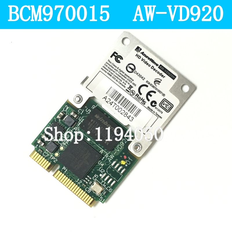 Broadcom BCM970015 70015 Crystal HD Video Decoder Mini PCI-E Adapter 1080p AW-VD920H