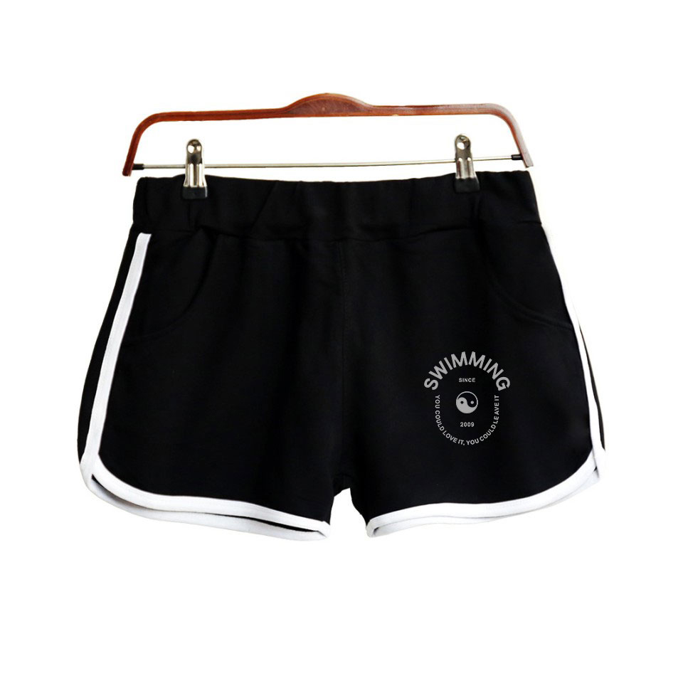 2018 Swimming Shorts Women Casual Cotton Short Femme Contrast Elastic Waist Shorts Fast Drying Drawstring Clothing(China)