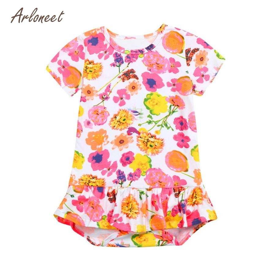 ARLONEET Baby Girls Dresses Newborn Baby Girls Short Sleeve Floral Jumpsuit Romper Outfits Clothes 2018 Dropshipping Mar22