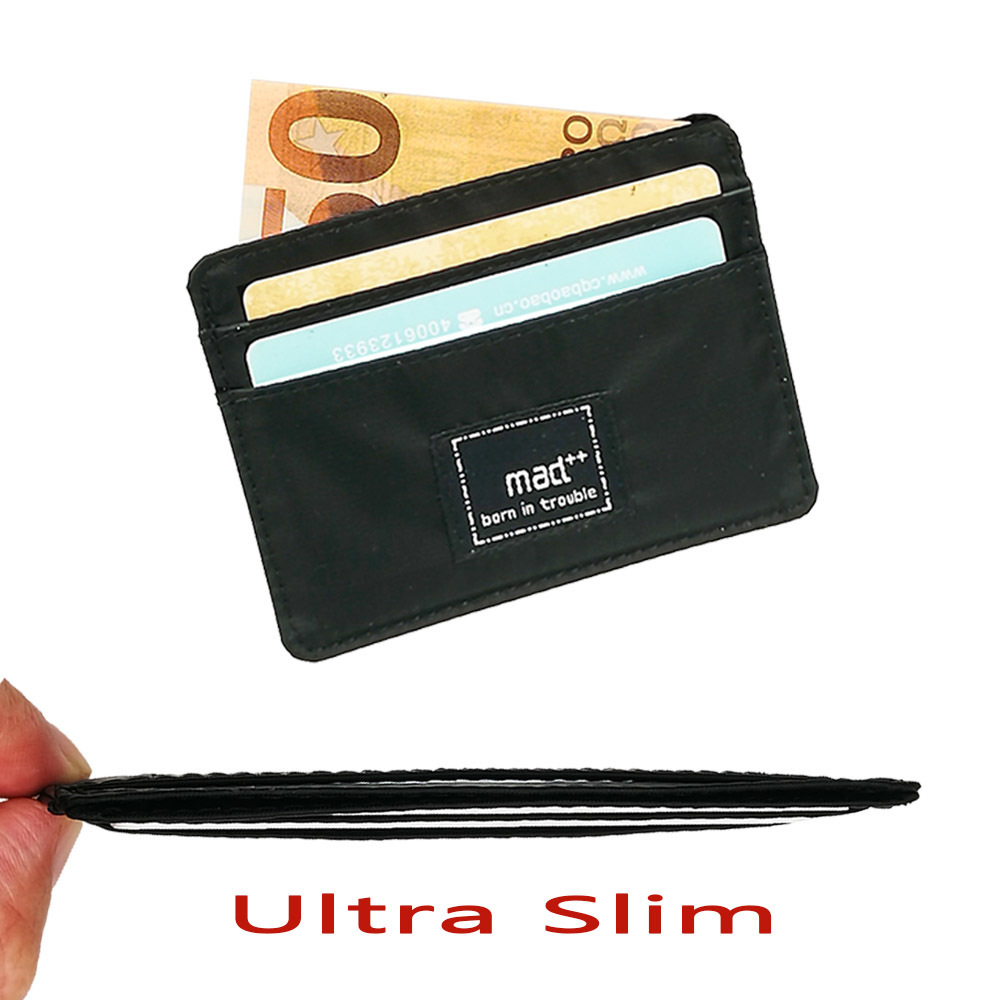 Ultra Slim Nylon Mini Plastic Credit Bank ID Card Case Holder Organizer Thin Small Casual Cash Wallets And Purse For Men Women цена и фото