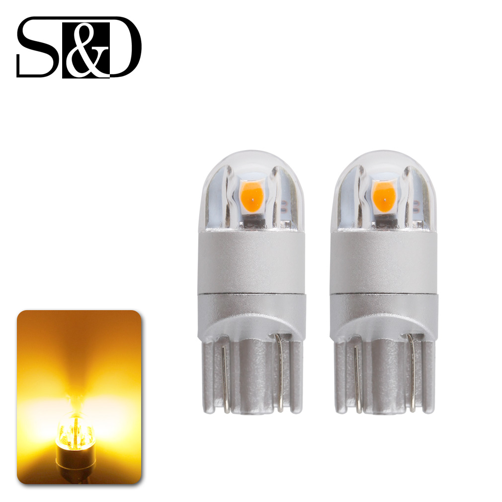 2pcs T10 W5W LED Car Bulbs 3030 Chips 194 168 501 Clearance Lights Interior Lighting Instrument Lights 12V 5w Amber deechooll 2pcs wedge light for mazda 2 3 5 6 mx5 rx8 cx7 626 gf gg ge gw canbus t10 57smd 6w led clearance xenon lighting bulbs