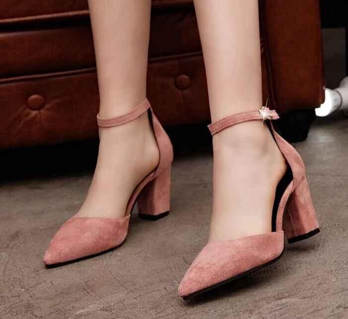 2019 รองเท้าส้นสูงแฟชั่นผู้หญิงใหม่ล่าสุดปั๊มฤดูร้อนผู้หญิงรองเท้าส้นหนาปั๊มสบายรองเท้าผู้หญิงรองเท้า