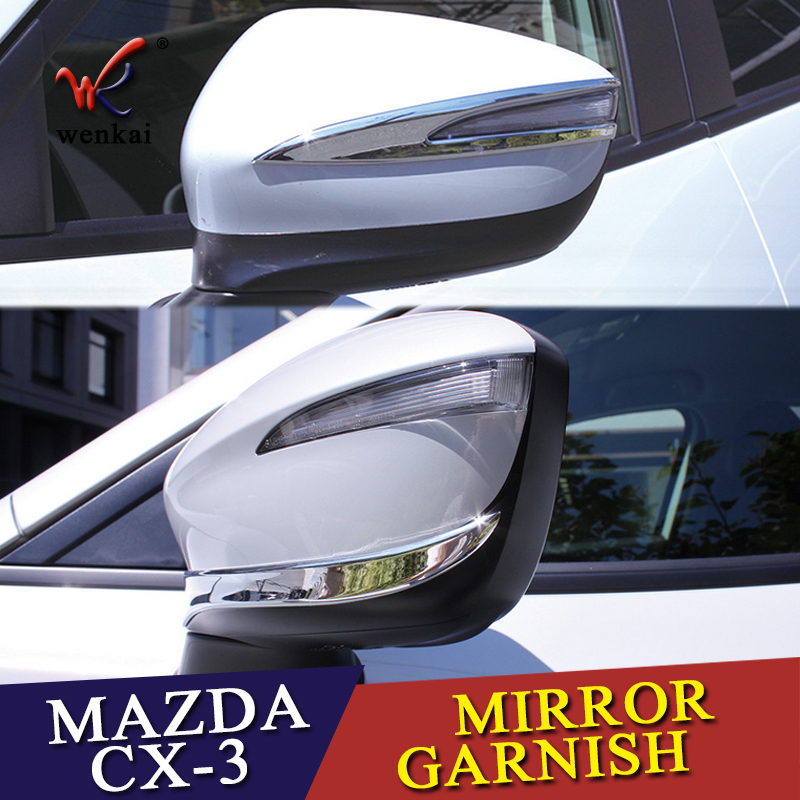 For <font><b>Mazda</b></font> CX-3 <font><b>CX3</b></font> 2015 <font><b>2016</b></font> 2017 Car Rearview Mirror Trim Covers Stickers Sequins Exterior Decoration Strips Auto Accessories image