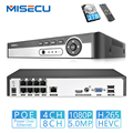 MISECU H.265 Max 5MP 4CH 8CH 48V POE NVR tot 8CH 16CH Audio Out Surveillance Beveiliging Video Recorder voor POE IP Camera