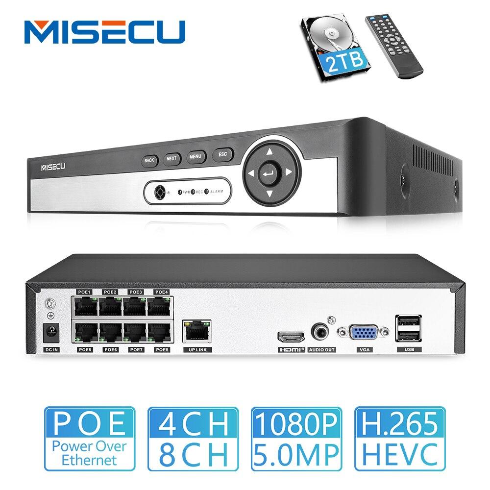 Misecu h.265 max 5mp 4ch 8ch 48 v poe nvr até 8ch 16ch áudio para fora vigilância segurança gravador de vídeo para câmera ip poe