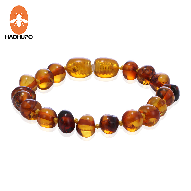 HAOHUPO Cognac Amber Teething Bracelets Anklets 4.7--8.7'' Handmade Original Jewelry Baltic Amber Beads for Baby Adults Women