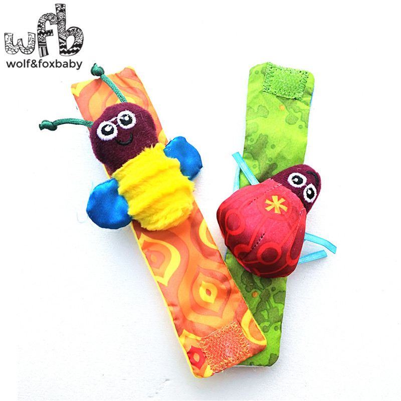 Retail 2pcs/lot Infant Baby Toys New Style Animals Bees + Ladybird Wrist Rattles With Ring Bell For Learning&education