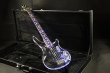 Hot selling acrylic body 4 string quality electric bass guitar blue led light free shipping guranteed quality стоимость