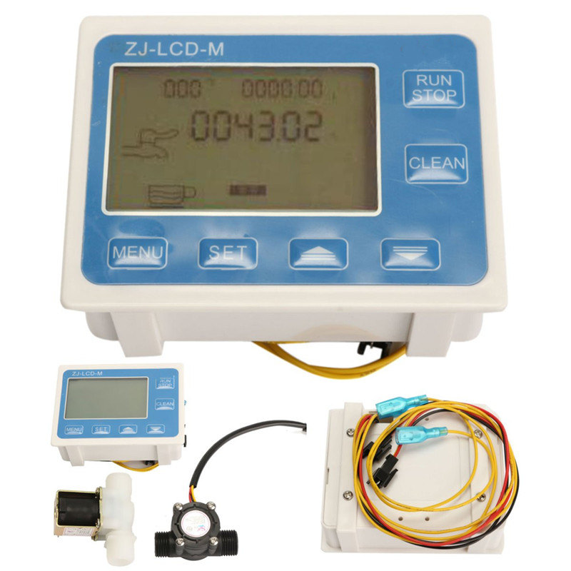 "Durable Quality 1/2"" Water <font><b>Flow</b></font> Control LCD display Meter + <font><b>Flow</b></font> Sensor + Solenoid valve light weight"