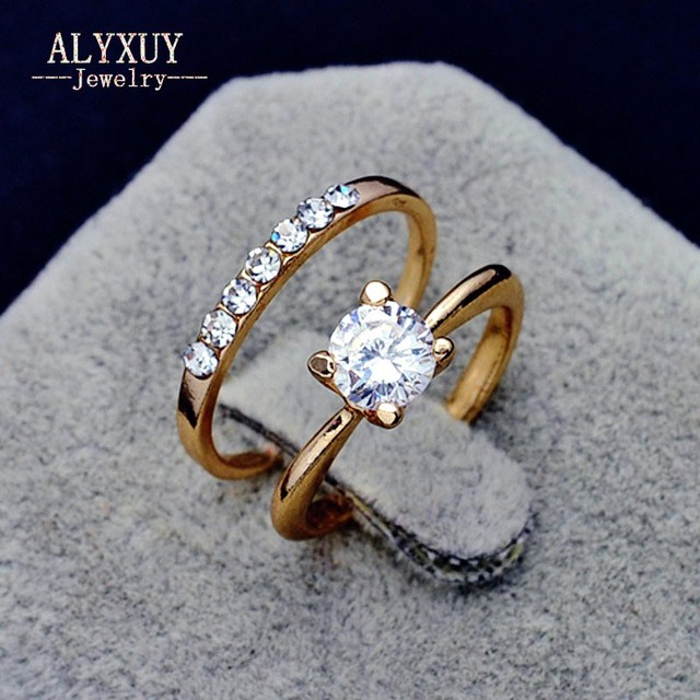 Fashion jewelry New gold color CZ zircon finger ring set wedding gift 4