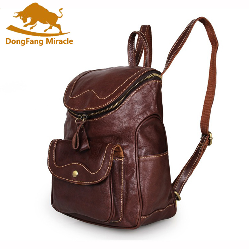 DongFang Miracle en cuir véritable nouveau Design Vintage deux voies fermeture à glissière Top sac à dos quotidien femmes sac à bandoulière sac à dos
