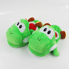 117ef1d212e89 28 cm Super Mario Bros Yoshi adulte pantoufles en peluche maison hiver  pantoufles chaussures mignon en