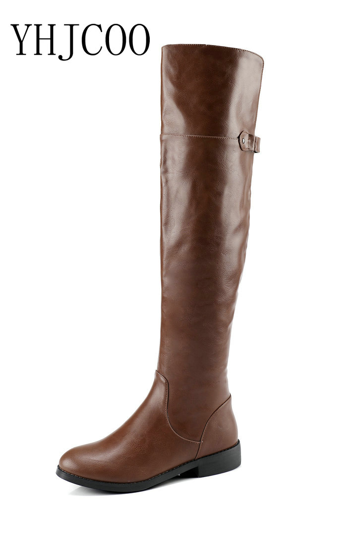 New Quality PU Sexy Women Over the Knee Boots Square heel Motorcycle boots Fashion Women's Shoes Black Boots Plus Size 43 enmayer over the knee boots shoes new pu knitting square heel high boots warm snow long boots red brown black knight boots