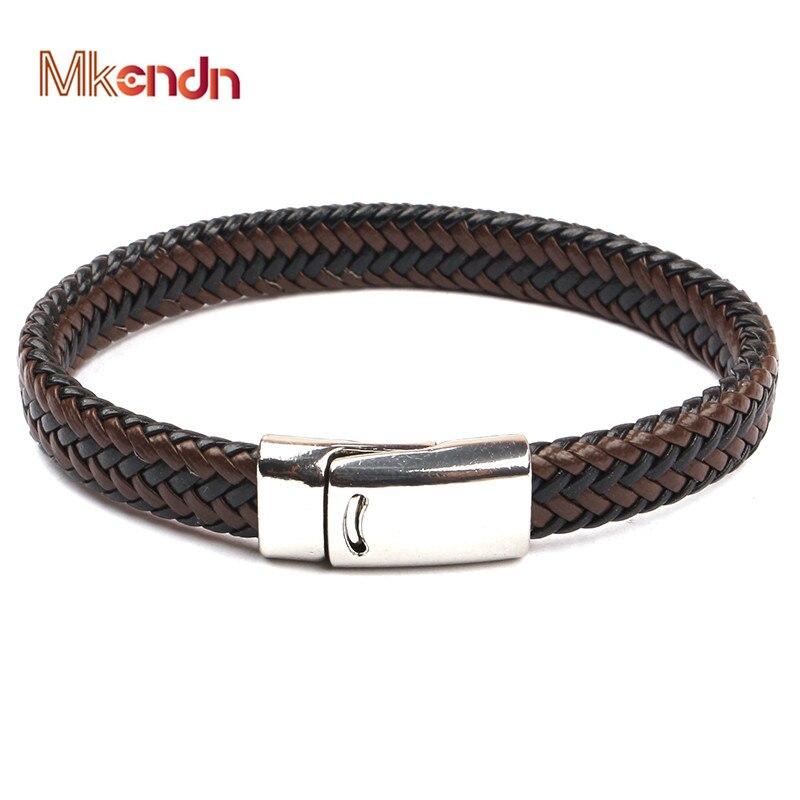 MKENDN 2019 New Arrival Magnet leather Bracelet Bangle Genuine Leather Hand Chain Buckle friendship men women bracelet