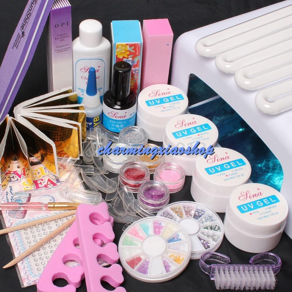 ФОТО Pro 36W UV Dryer Lamp Glitter Powder French Nail Art Tips Gel Tools DIY Set Gel Nails Kits With Lamp 34202
