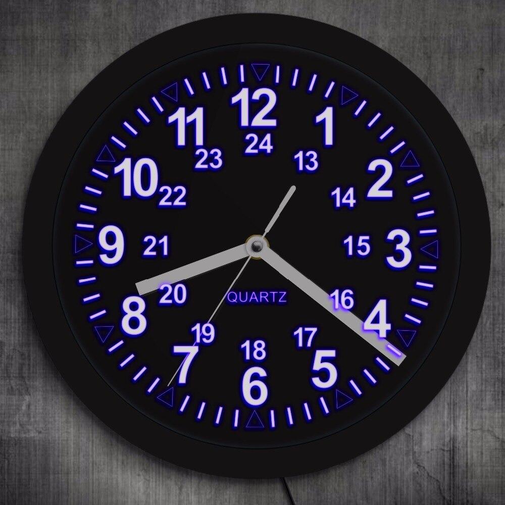 Horloge murale rétro motif militaire avec rétro-éclairage LED 24 heures affichage LED l'heure zoulou horloge murale néon armée Marine cadeau de chronométrage