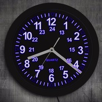 Military Pattern Retro Wall Clock with LED Backlight 24 Hours Display Zulu Time LED Neon Wall Clock Army Navy Marine Timing Gift