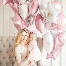 3PCS ντους μωρού 18 ιντσών ρόδινο άσπρο αστέρι μπαλόνια αλουμινίου ηλίου φύλλα κορίτσια πολλά γενέθλια συμβαλλόμενα μέρη προμήθειες 1ο μέρος διακόσμηση μπάλα αέρα