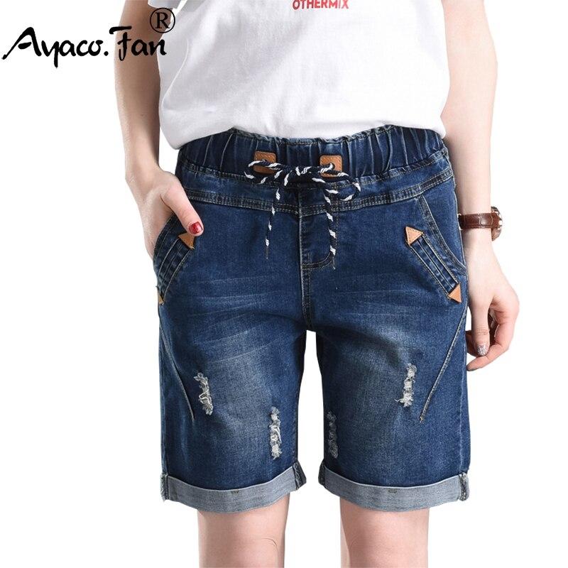 2019 Summer Fashion Street Women's Drawstring Elastic Waist Short Jeans Plus Size Half Denim Cuffs Trousers Boyfriend Shorts